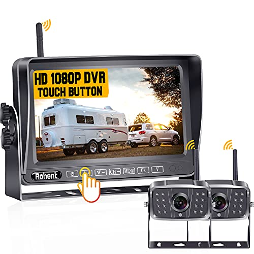 Rohent R8 HD 1080P 2 Wireless Backup Camera with 7 Inch Touch Key DVR Monitor Stable Digital Signals for RVs,Trailers,Trucks High-Speed Observation Hitch Rear View Camera System IP69K Waterproof