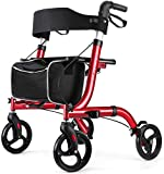 RINKMO Rollator Walkers for Seniors Aluminum Rollator Walker with Seat 8 inch Wheels Senior Walker Lightweight 15.6 lb Walker for Adult up to 300 lbs Walker Handle Adjustable 18 inch Wide Seat