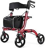 RINKMO Rollator Walker for Seniors,Four Wheels Rolling Walker with Seat and Backrest, Aluminum Frame,Easy Folding for...