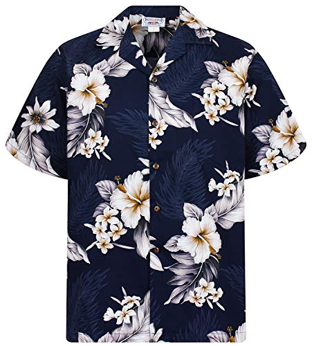 P.L.A. Pacific Legend Original Hawaiihemd, Kurzarm, Enzian, Dunkelblau, L
