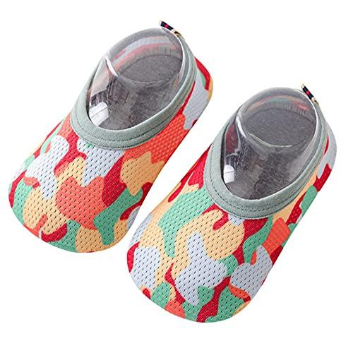 Escarpines de Baño para Bebé Niños y Niñas Calcetines Finos Malla Zapatos Piso Zapatos Niños Pequeños Calcetines Rápido y Antideslizantes Camuflaje Calcetines para Piso Bebé Playa Nadar Sandalias
