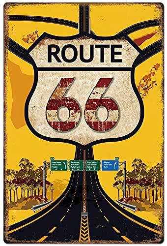 Fantastico design retrò originale Route 66 Tin Metal Sign Wall Art | Decorazione da parete poster con stampa in banda stagnata spessa per garage ... -Route 660