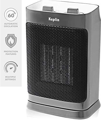 KEPLIN Oscillating Ceramic Electric Fan Heater (750-1500W) - Mini Portable...