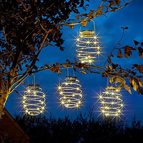 Farolillo LED solar en espiral, diámetro colgante, decoración de jardín, decoración de invierno, decoración de terraza, color negro cálido, 4 unidades