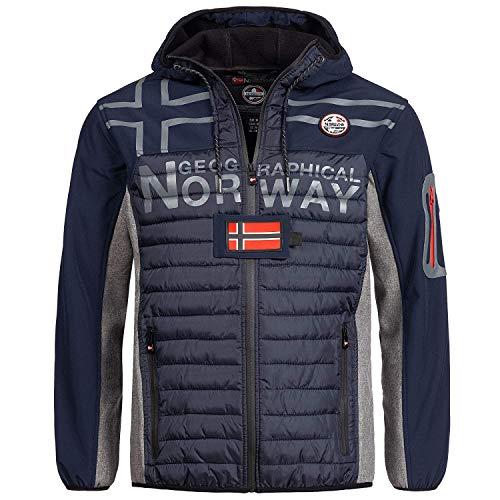 Geographical Norway hybride softshell/gewatteerde herenjas, winterjas met capuchon, warm anorak, outdoor ski-snowboard-jack met capuchon, voor de winter/herfst in bundel met UD-beanie