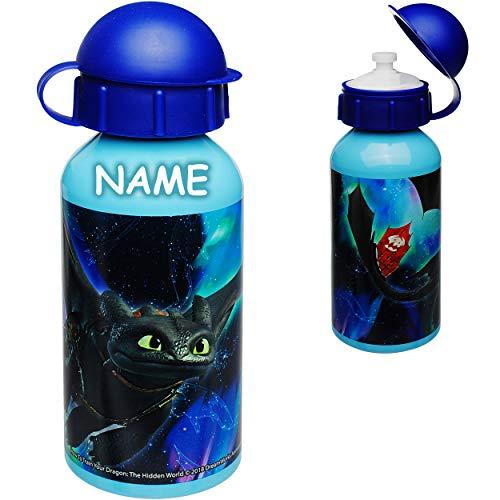 alles-meine.de GmbH Trinkflasche / Sportflasche -  Dragons - Drachenzähmen leicht gemacht  - inkl. Name - 400 ml - auslaufsicher - aus Aluminium - Wasserflasche - für Kinder - ..