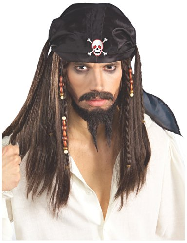 Forum Novelties mens Pirate Wig and Scarf Costume Accessory, Black/Brown, One Size US
