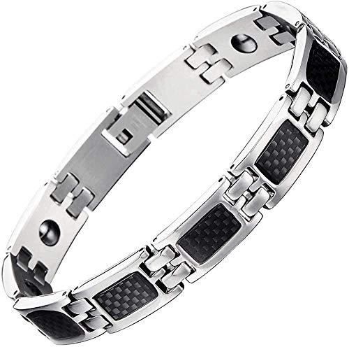YOUZYHG co.,ltd Stainless Steel Link Bracelet for Men with Carbon Fiber Satin Link Removal Kit