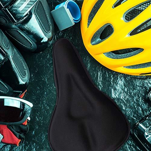 Relaxdays Sattelbezug mit Gel, weich & bequem, Gelüberzug für Fahrradsattel, mit Sicherheitsband, gepolstert, schwarz - 2