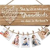 Grandma Gifts Grandma Photo Holder, Gifts for Grandma from Granddaughter and Grandson, Grandkids Grandpa Nana Grandmother Picture Frame with 8 Clips-Suits Birthday, Christmas & Various Holidays