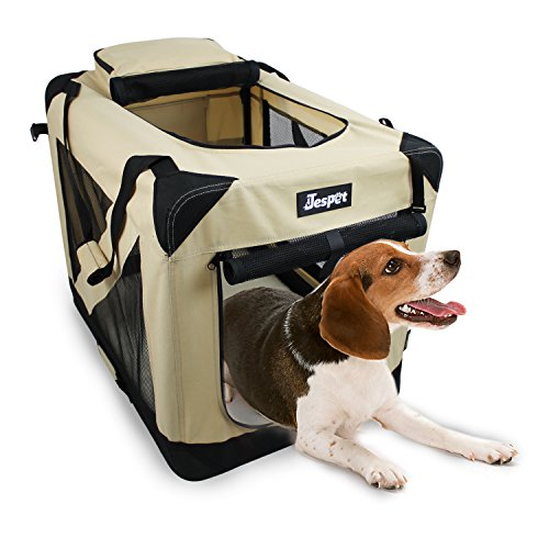 """JESPET Soft Dog Crates Kennel for Pets, 3 Door Soft Sided Folding Travel Pet Carrier with Straps and Fleece Mat for Dogs, Cats, Rabbits, Grey Blue & Beige (36"""" L x 24"""" W x 27"""" H, Beige) AmazonPets Basic Crates Dog from Selection Supplies Top"""