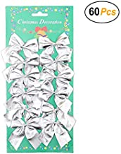 Christmas Bows Festival Bowknot Christmas Tree Decorations, Pack of 60 (Silver)