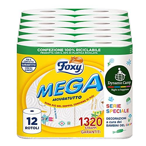 Foxy MEGA | Langlebiger Trockner | 12 Rollen | 110 Blatt pro Rolle | Super saugfähig | Papier 100% PEFC™ zertifiziert | Dekoriert | Verpackung 100% recycelbar