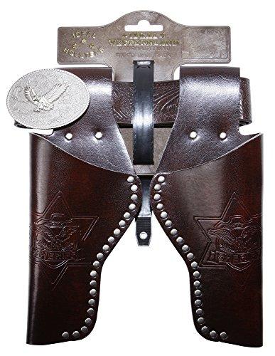 Schrödel J.G. Gürtel Eagle mit Nieten und 2 Holster: Pistolengürtel aus Lederimitat und Metall für Spielzeugpistolen, 95–135 cm, braun (750 0156)