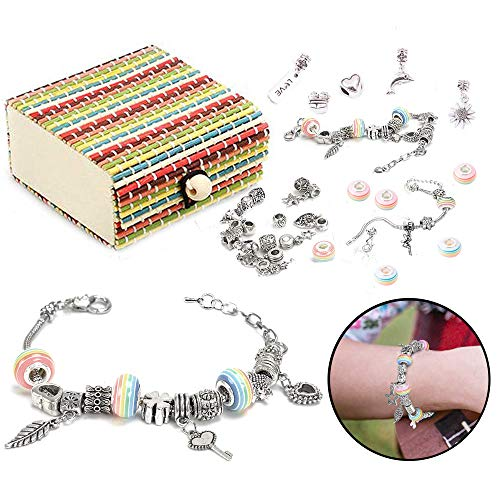 Queta 3Pcs Argent Bracelet Fille Bracelet Fille Kit de Fabrication de Bijoux avec Coffret De Perles Parfait Cadeaux pour Fille 8-12 Ans