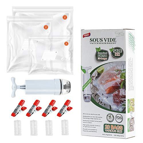 TAILI Frischbeutel Folienbeutel Sous Vide Beutel 20 TLG Set (3 Verschiedene Größe) für Alle Riegel Vakuumierer, BPA Frei, Kochfest, mit 1 Handpumpe& 4 Verschlussklipps & 4 Sous Vide Beutelklammern