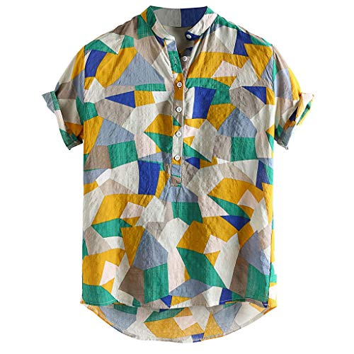 LOOKAA Men's Summer Hit Color Stand-Up Collar Short-Sleeved Casual Loose Hawaiian Style Henry Collar Shirt Green