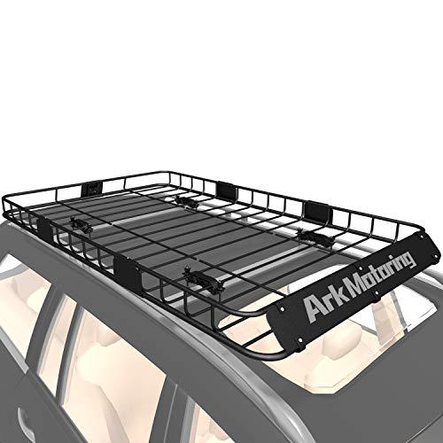 Ark Motoring Roof Rack, 64'x 39' Rooftop Basket Cargo Carrier with Rack Extension, Car Top Luggage Holder Carrier Basket, Black Steel