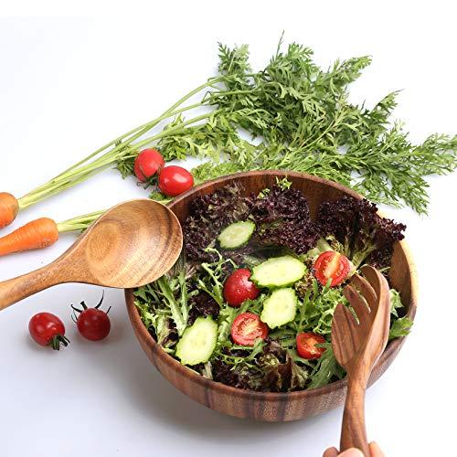 TOP-Hill acacia wooden salad bowl set, wooden salad bowls for food,wood fruit bowl, mixing bowl sets for kitchen,wood salad bowl set with tongs servers (Salad bowl)