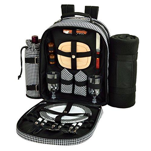 Picnic at Ascot - Deluxe ausgestatteter Picknick-Rucksack für 2 Personen mit Kühler, isoliertem Weinhalter und Decke – Hahnentritt