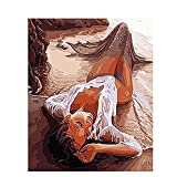 大人の初心者のためのDIYデジタル油絵DIY油絵キットセクシーな女の子のキャンバス絵画壁の装飾素晴らしいギフト40X50cm /フレームなし