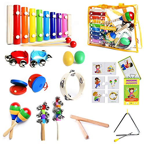 SMART WALLABY Musical Instruments Set & Puzzle Card Game for Kids   15 Pcs. Toddler Wooden Toy Percussion Set with Xylophone Plus a Bonus Instruments Matching Puzzle (Little Band with Matching Puzzle)