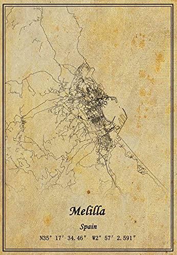 Póster de Mapa de Melilla de España para pared con impresión en lienzo, estilo vintage, sin marco, decoración de regalo de 50 x 76 cm