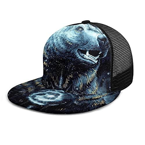 Unisex rejilla gorra de béisbol impresa plana facturado gorras negro cielo oso constelación estrella azul verano ajustable empalme Hip Hop Cap sombrero de sol