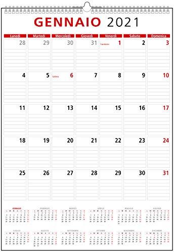 Calendario 2021 da Muro per Casa e Ufficio con Festività, Spazio Appunti, Facile lettura...