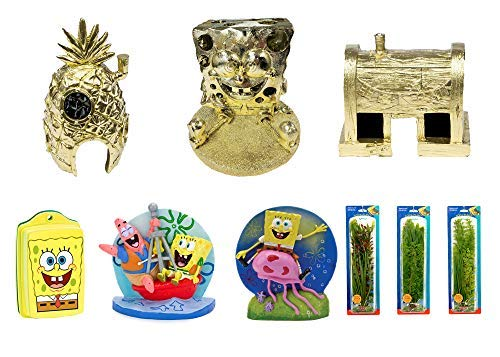 Penn-Plax Officially Licensed Spongebob Squarepants 7 Piece Gift Set for Freshwater and Saltwater Aquariums (10 Gallons and Up) – Features 3 Golden Ornaments