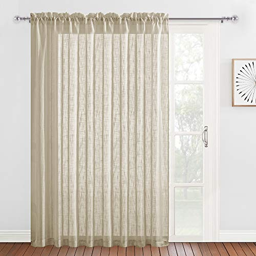 RYB HOME Sliding Door Curtains - Linen Sheer Curtains Farmhouse Window Drapes for Bedroom Living Room Dining Bathroom, Rural Pastoral Drapery Light Filtering, Taupe, 100 x 84, 1 Panel