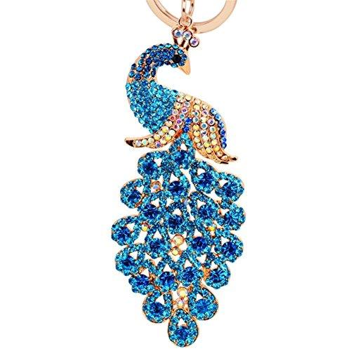 Reizteko Majestic Peacock Keychain Crystal Handbag Charm for Feather Fans Key Chain Bird Animal Lovers Rhinestone Diamond Key Ring Holder Purse Bag Car Hanging Pendant Decoration Gift (Blue)