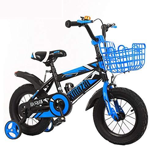 Bicicleta infantil con ruedas estabilizadoras, con freno de mano y cesta para niñas de 3-11 años, 12, 14, 16 y 18 pulgadas, con ruedas estabilizadoras y guardabarros, color azul, tamaño: 14 pulgadas