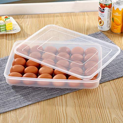 Huevos, armario refrigerador, contenedor de huevos con tapa, de plástico, portátil, caja de almacenamiento de huevos, antideslizante, apilable, 30 huevos