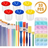 QUACOWW 33 Pcs No Spill Paint Cups and Brushes with Paint Palettes, Kid Drawing Tool Sets for Toddlers, Early...