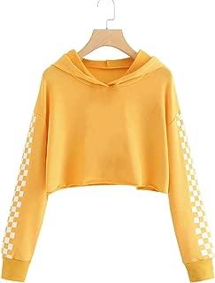 Girls Unicorn Hooded Crop Tops Jackets Kids Cute Plaid Sweatshirts Fall Clothes 3-9 T