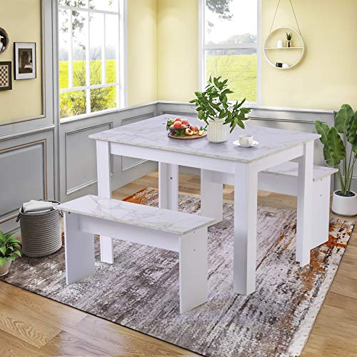 Kitchen Dining Table and 2 Bench Set, Garden Bench Home Furniture Set Dining Room Furniture, White Faux Marble Tabletop