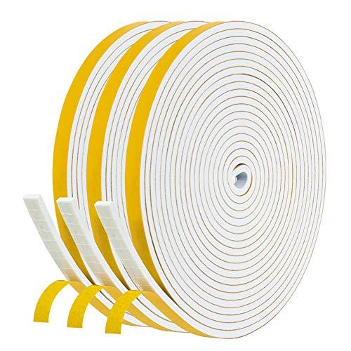 Dichtungsband für Türen Fenster 6mm(B) x3mm(D) selbstklebendes Schaumstoffband Türdichtung Fenste, Gummidichtung für Kollision Siegel Schalldämmung Gesamtlänge 13.5m (3 Rollen je 4.5m lang) Weiß