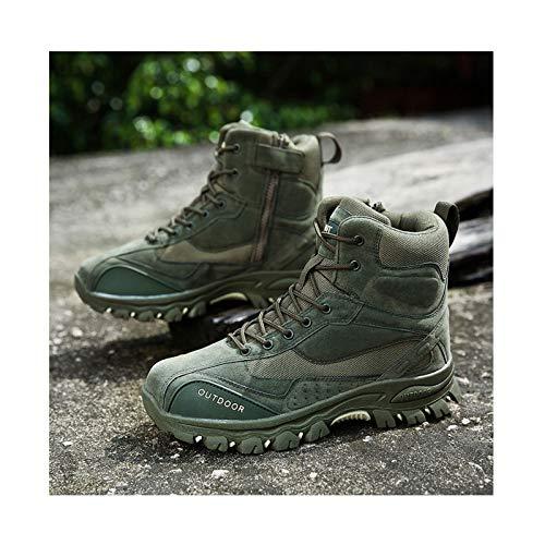 Calzado De Montañismo Botas Tácticas Militares De Combate + Plantillas Hombres Ejército Caza Senderismo Camping Zapatos De Trabajo De Invierno,Green-43