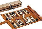 Jaques of London Backgammon Set - Traditional Tan Design Genuine Leather Backgammon Set - Travel Backgammon...