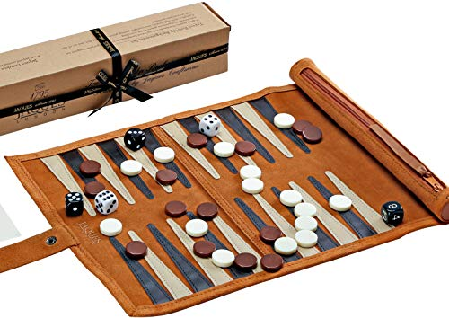 Jaques of London Backgammon Set - Traditional Tan Design Genuine Leather Backgammon Set - Travel Backgammon Set Inc. Gift Packing Quality Games Since 1795