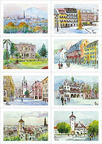 8 Grußkarten Geburtstagskarten mit Kuvert - Freiburg im Breisgau
