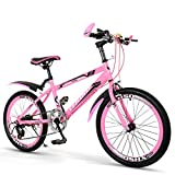 XUELIAIKEE 20 Inch Bicycle Girls Mountain Bike,Freestyle Kids Bike MTB Front Suspension Mountain Bike Pink 7 Speed Bicycles Sports Cycling Fit For 6-10 Years Old