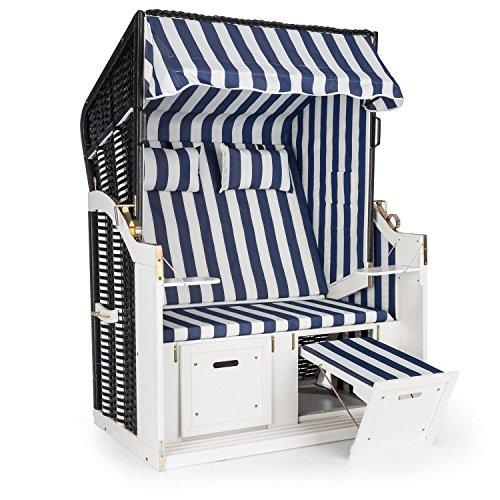 blumfeldt Hiddensee Sillón de Playa XL (2 Asientos, Tumbona de jardín, Acolchado, reclinable, reposapiés, toldo Plegable, mesas) - Azul/Blanco a Raya
