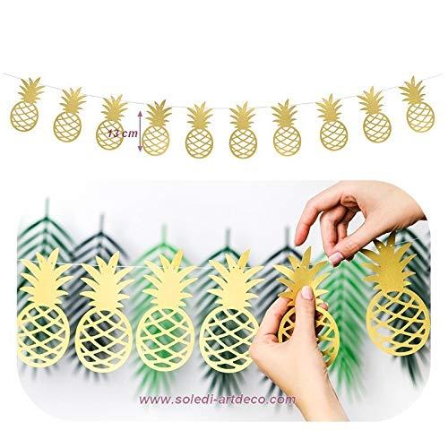 Slinger ananas, goudkleurig, metallic, van karton, hoogte 13 cm x 2 m lang, voor een tropische decoratie