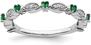 Sterling Silver Stackable Expressions Created Emerald and Diamond Ring Band