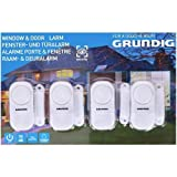 GRUNDIG Allarme per porte e finestre - set da 4 dispositivi antifurto wireless sicurezza casa - Sensore Magnetico acustico con Interruttore ON/OFF batterie incluse, Alto Volume 90dB, Anti intrusione