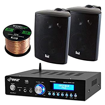 Pyle PDA5BU Amplifier Receiver Stereo Bluetooth AM/FM Radio USB Flash Reader Aux input LCD Display 200 Watt With Dual LU43PB Indoor/Outdoor Speakers Bundle With Enrock 50ft 16g Speaker Wire