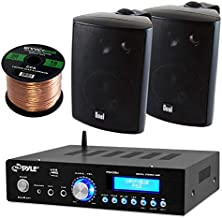 Pyle PDA5BU Amplifier Receiver Stereo, Bluetooth, AM/FM Radio, USB Flash Reader, Aux input LCD Display, 200 Watt With Dual LU43PB Indoor/Outdoor Speakers Bundle With Enrock 50ft 16g Speaker Wire