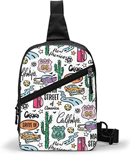 Route 66 Pattern Sling Bag,Crossbody Shoulder Chest Outdoor Hiking Travel Personal Pocket Bag for Women Men Water Resistance